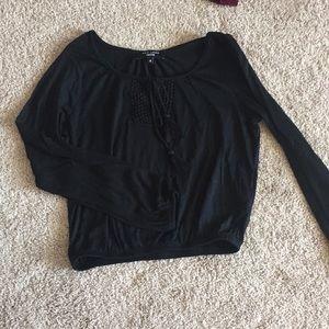 New Look black boho crop top